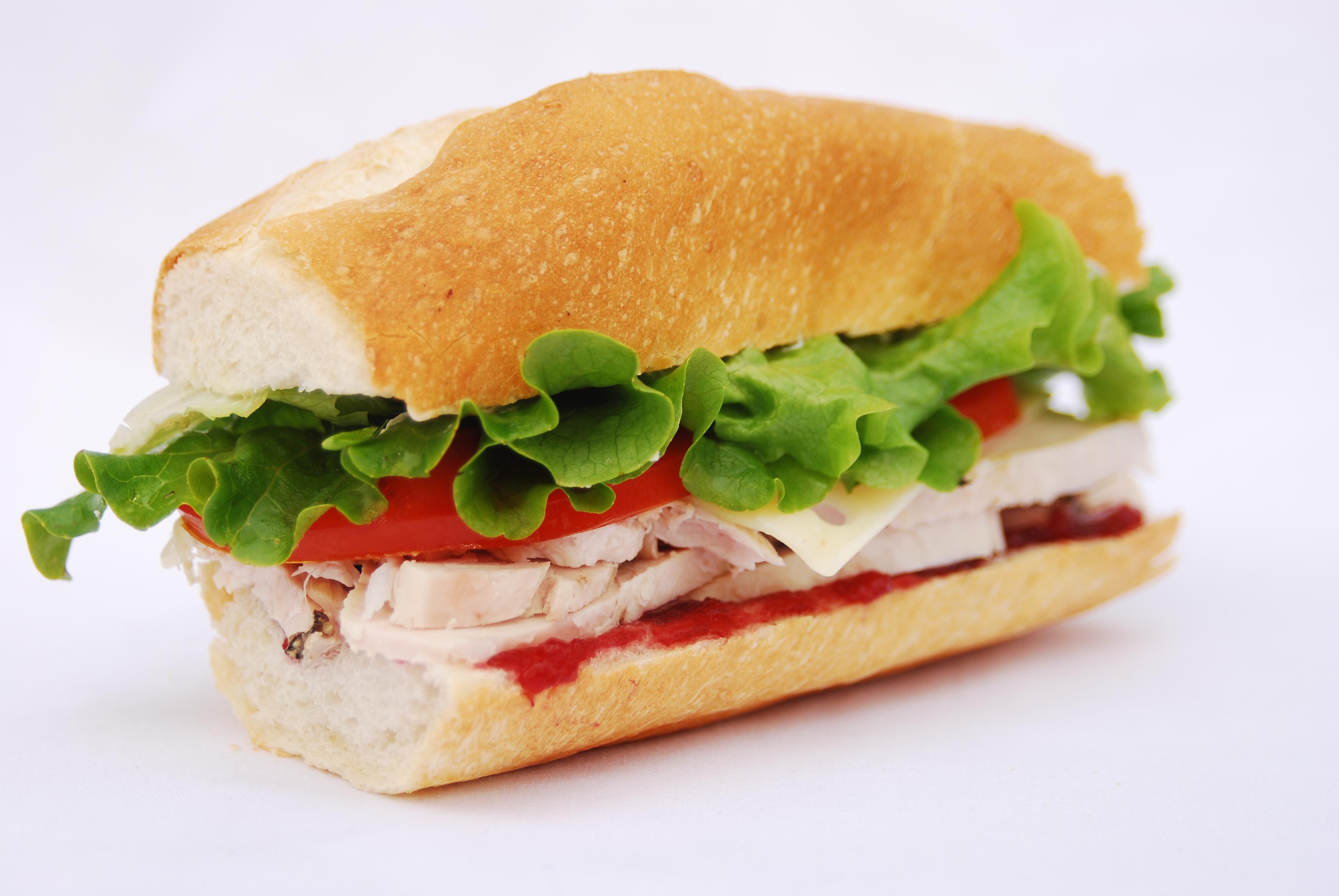 turkey sandwich on a baguette